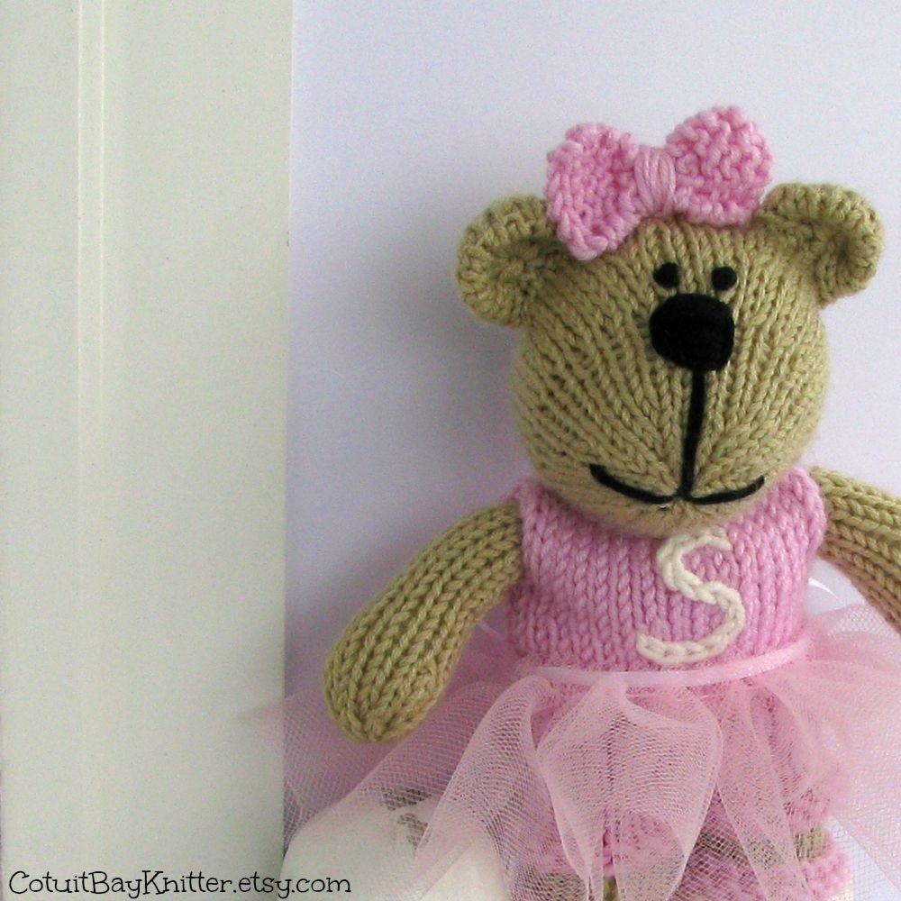 Hand Knit Teddy Bear Ballerina by CotuitBayKnitter.etsy.com