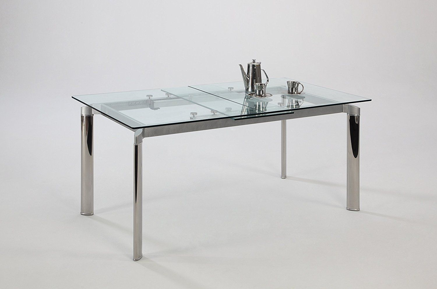Chintaly Imports Pop Up Extension Gl Dining Table Stainless Steel