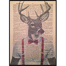 Lienzo de pared, diseño de cabeza de ciervo, página de Diccionario Vintage, ciervo con decoración de cuadros rojos