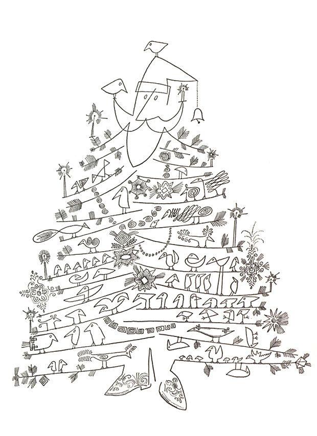 """Santa Claus as Christmas Tree"" by Saul Steinberg, 1949 or"