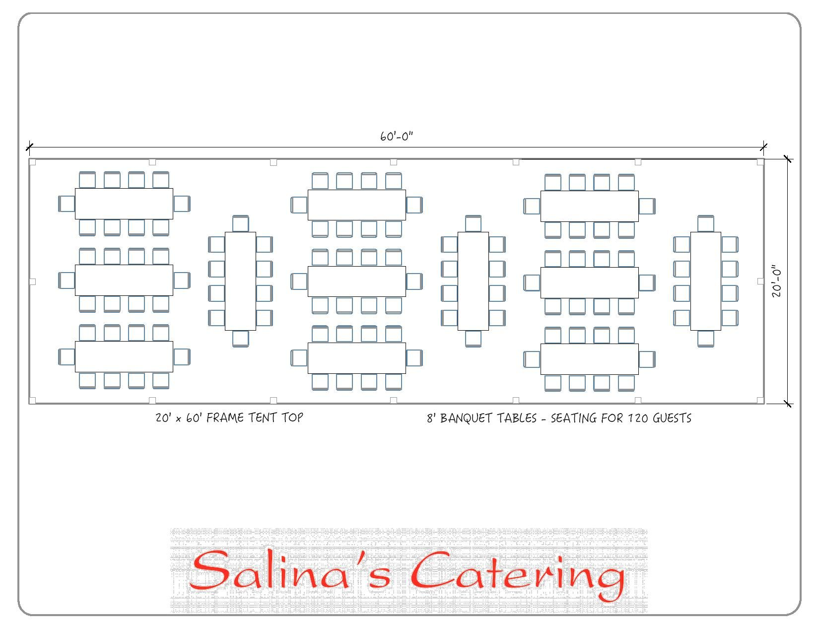 Here is a typical layout for a 20X60 tent. With this layout, you ...