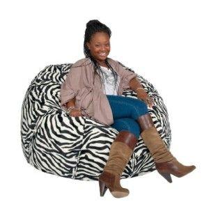 Cozy Sack 3 Feet Bean Bag Chair Medium Zebra Print