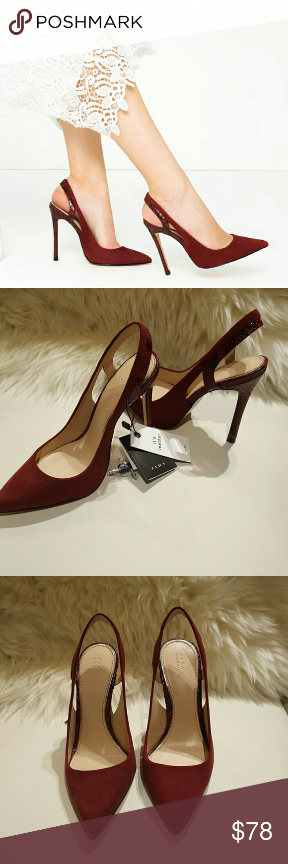 f12884509fa Zara Leather Slingback Heels NWT Burgundy high heel leather slingback shoes  opening detail on the sides heel with animal effect contrasting finish heel  ...