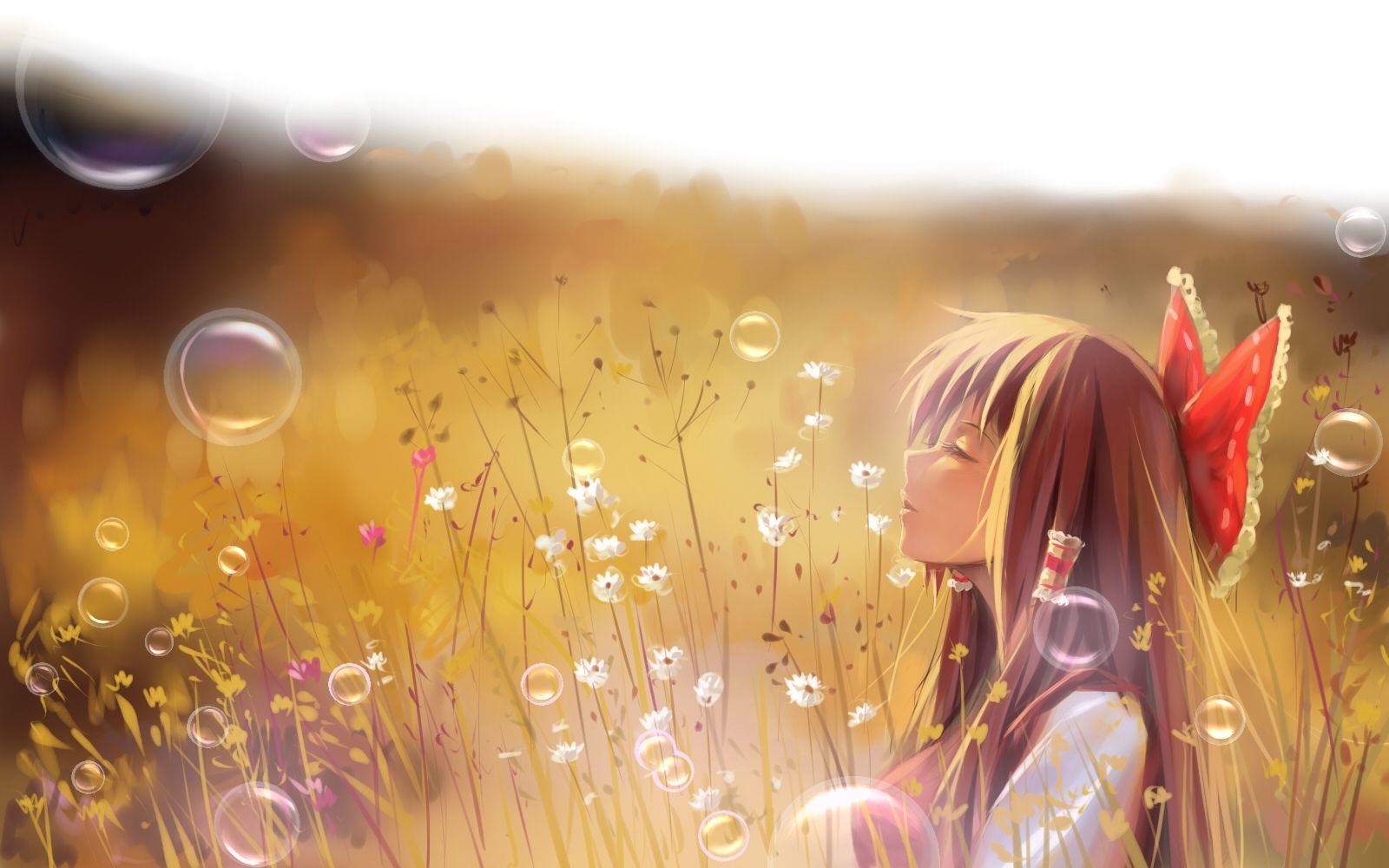 a luo bow brown hair bubbles flowers grass hakurei reimu