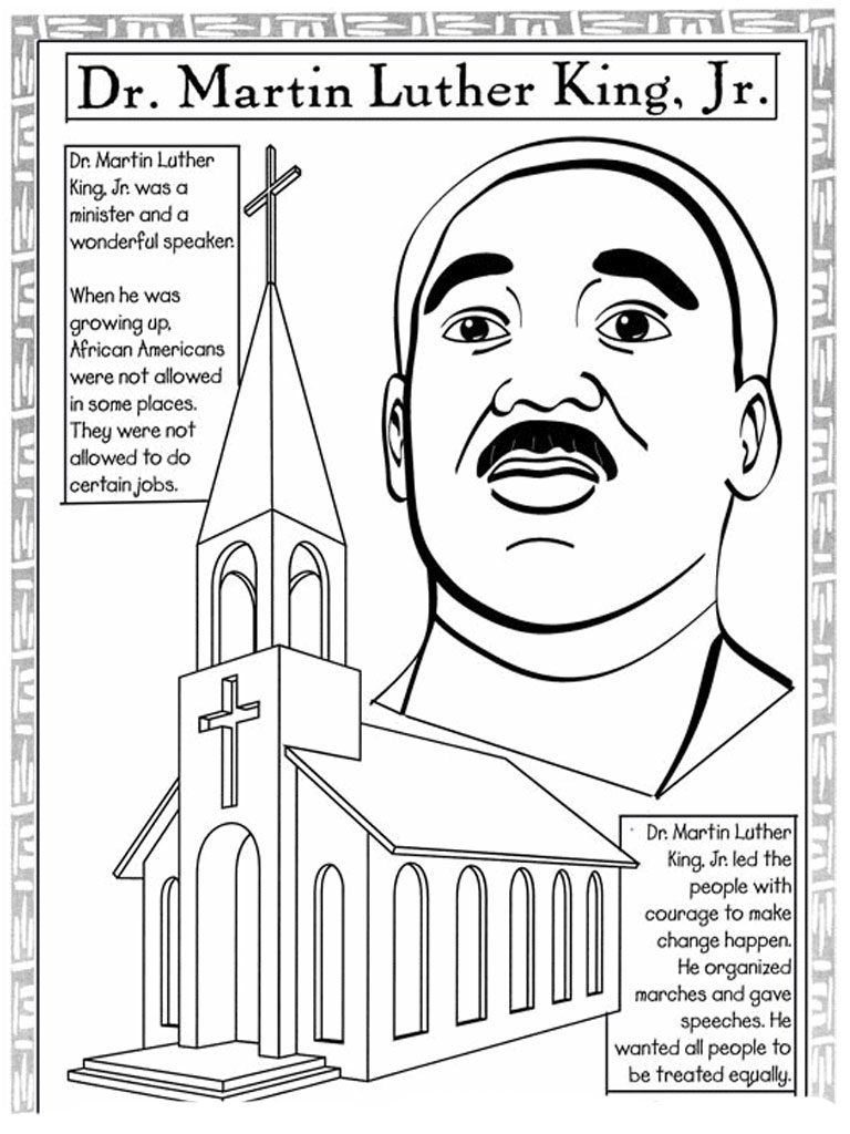Martin Luther King Jr Day Coloring Page