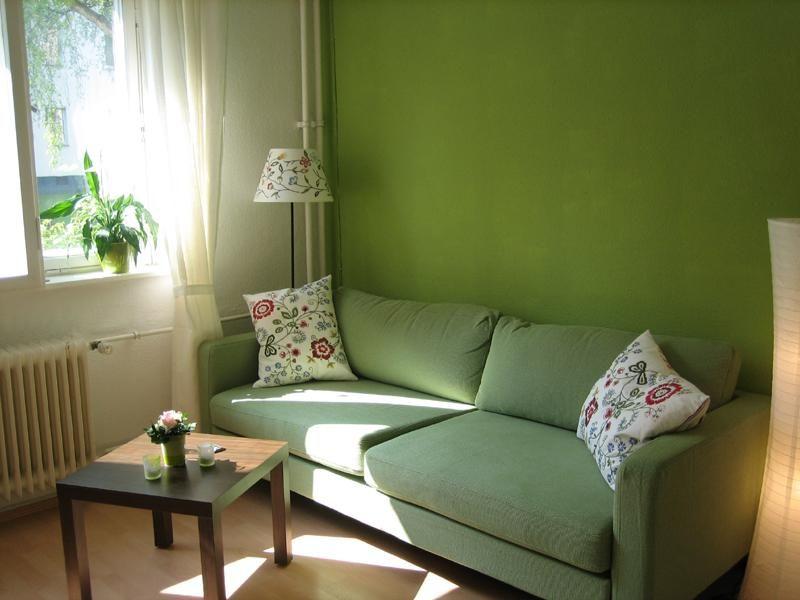 Grün gestrichenes Wohnzimmer mit Sofa in demselben Farbton - Wohnzimmer Design Grun