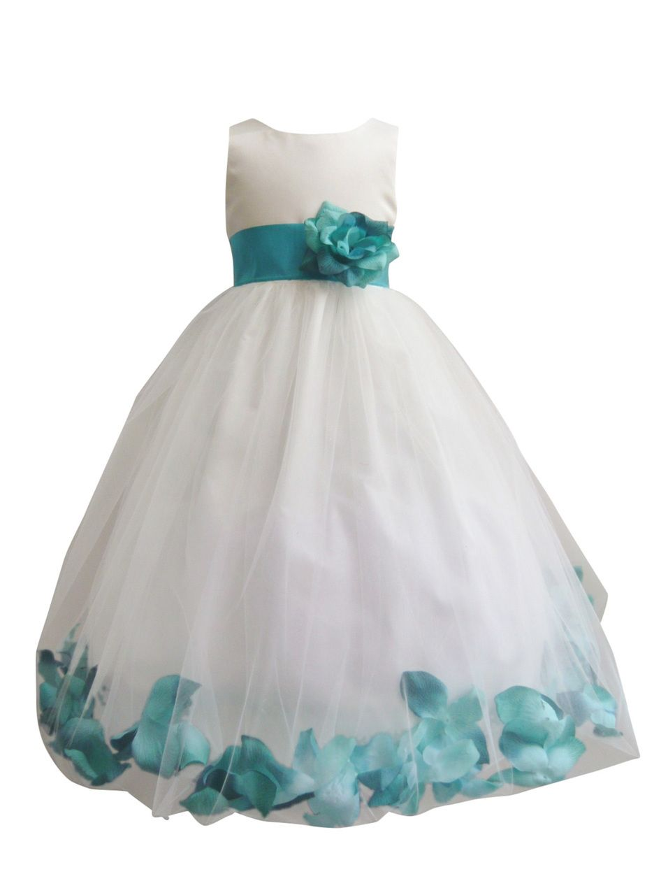 2e6d8fd97da Flower Girl Dress Rose Petal Ivory, Teal - Easter, Wedding ...