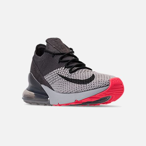 new arrival 17d5f 404d6 Three Quarter view of Men s Nike Air Max 270 Flyknit Casual Shoes in Atmosphere  Grey Hyper Punch Thunder