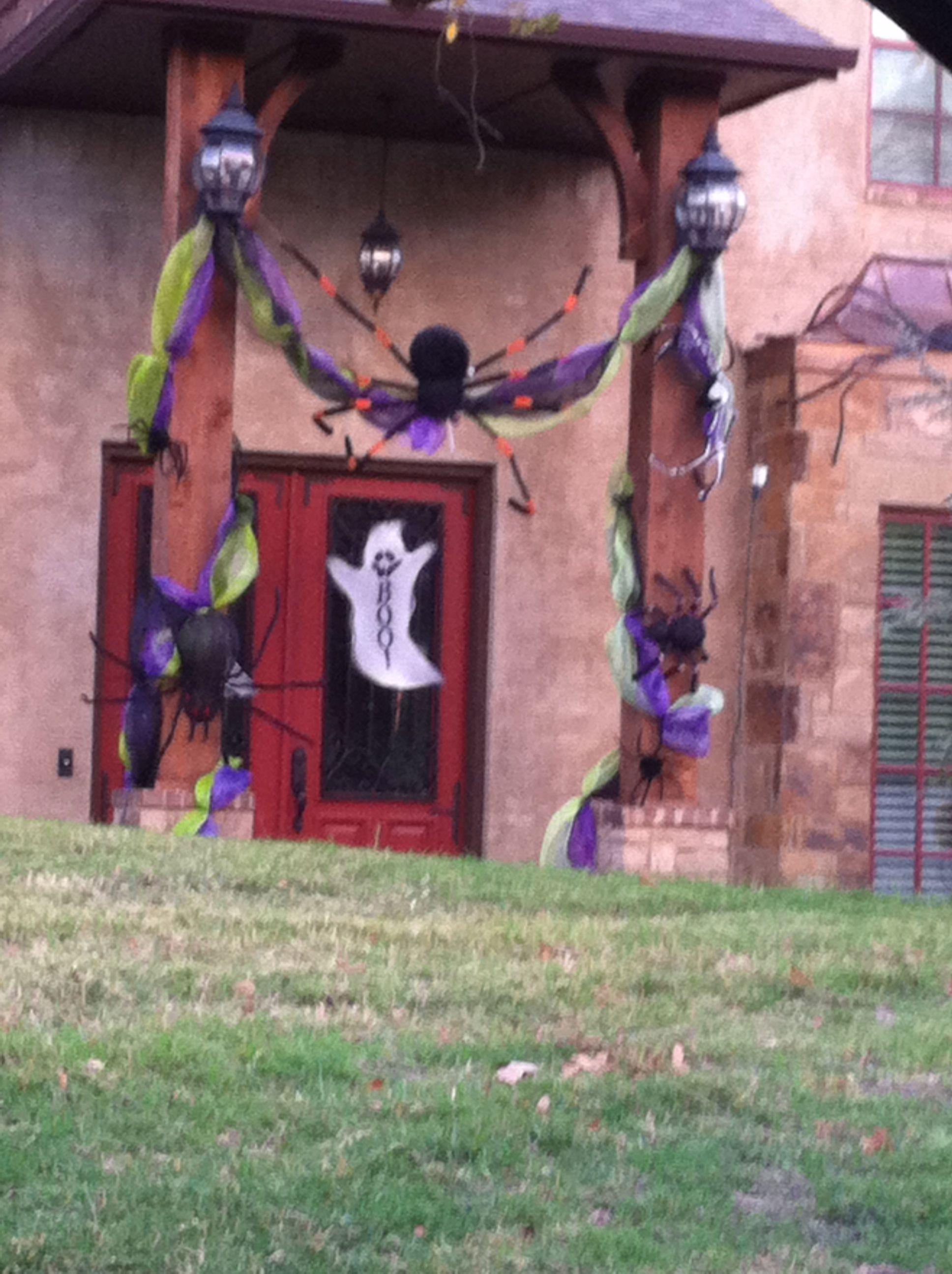 Halloween spiders door decor Door decorations, Halloween