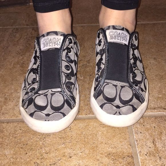 Coach shoes Black and grey and white coach shoes. Converse style with elastic band. Worn but still cute Coach Shoes