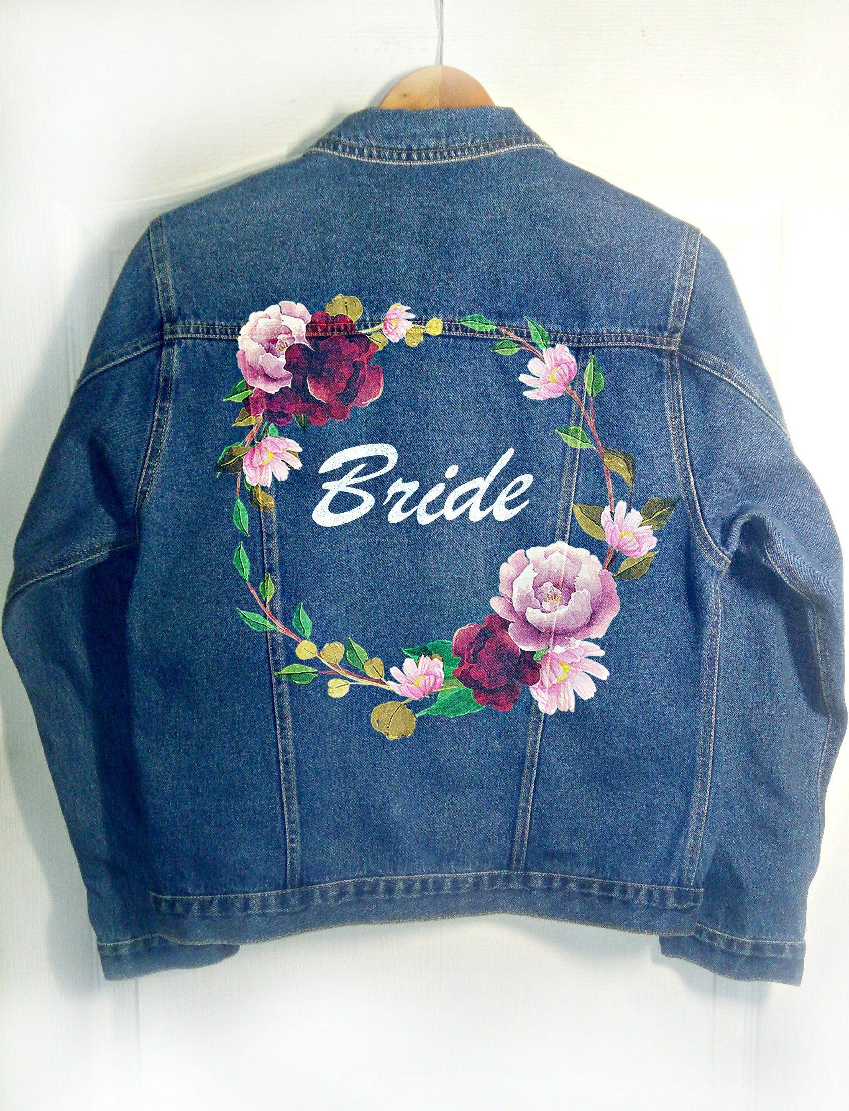 Hand Painted Wedding Denim Jacket Etsy Diy Denim Jacket Embroidery Jeans Jacket Painted Denim [ 2185 x 1671 Pixel ]