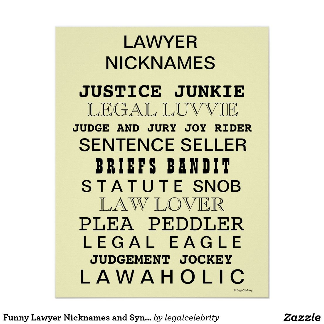 funny office poster. Funny Lawyer Nicknames And Synonyms Office Poster