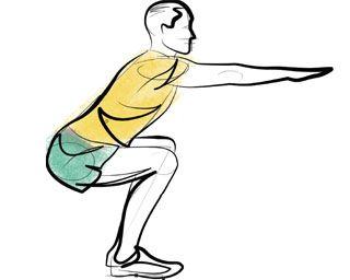 Agachamento - Com pés paralelos, levemente afastados e na linha dos quadris, faça a flexão (agachado em aproximadamente 90°) e a extensão de joelhos sem esticálos totalmente. Os braços ajudam no equilíbrio. Caso queira aumentar a carga, segure uma anilha ou use uma barra ou caneleira como peso.