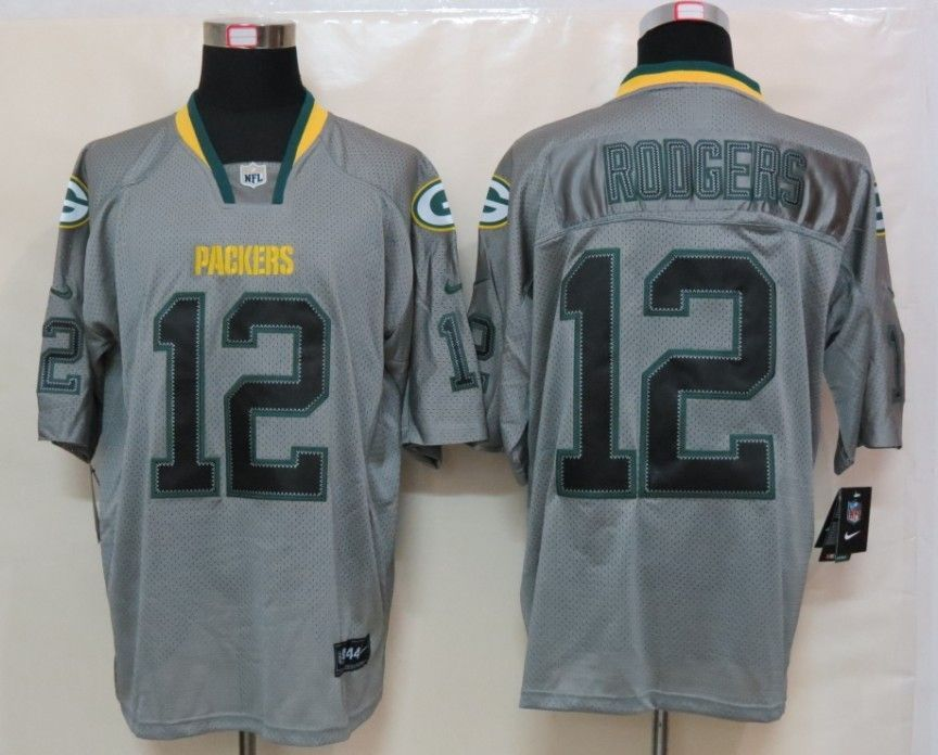 cheap for discount eb81a 757e3 New Nike Green Bay Packers 12 Rodgers Lights Out Grey Elite ...