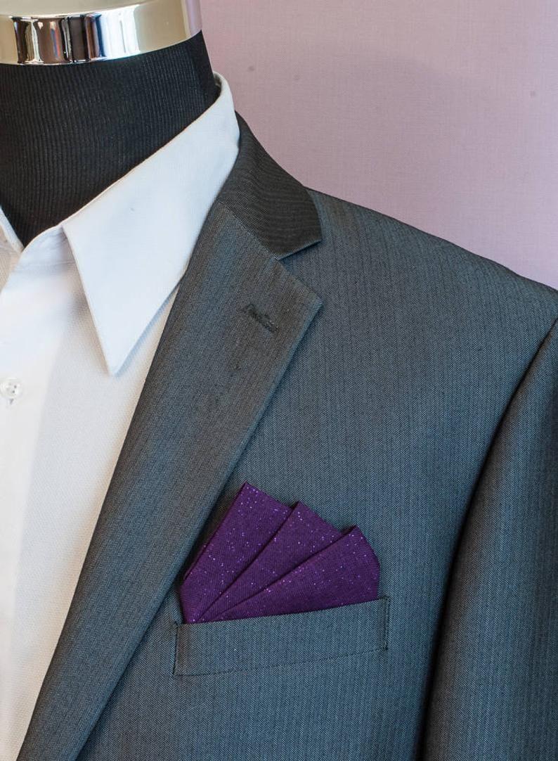 Men/'s 100/% Silk Pre-Folded 4 Point Pocket Square Insert NEW Dark Grey