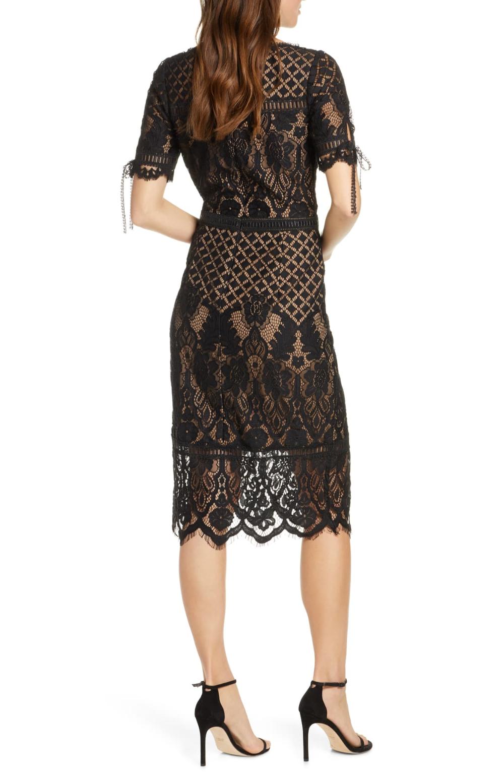 Tadashi Shoji Tie Sleeve Lace Cocktail Dress Nordstrom Cocktail Dress Lace Lace Sheath Dress Dresses [ 1533 x 1000 Pixel ]