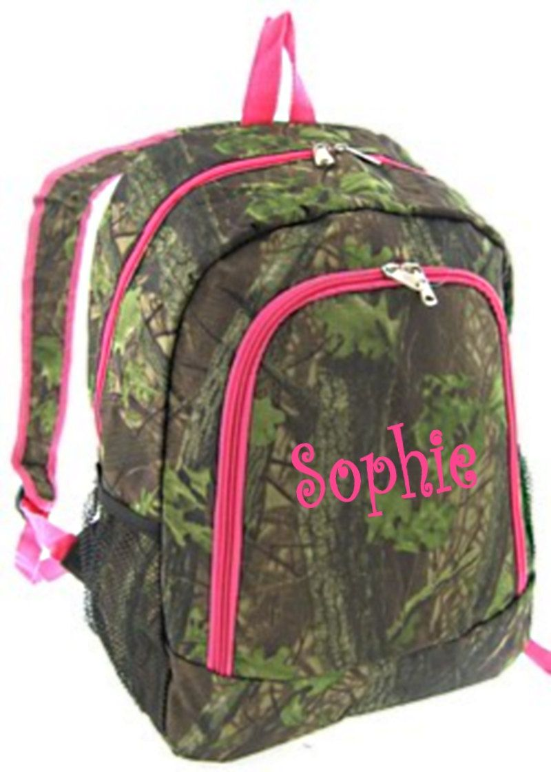 Personalized Girls Backpack - Canvas Booksack Mossy Oak Pattern ...