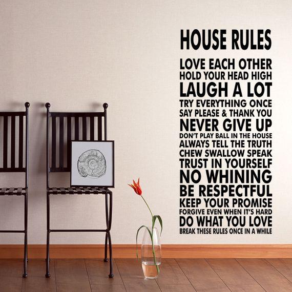 House Rules Vinyl Wall Decal Sticker We Do Art Vinyl Poster Print - House rules wall decals
