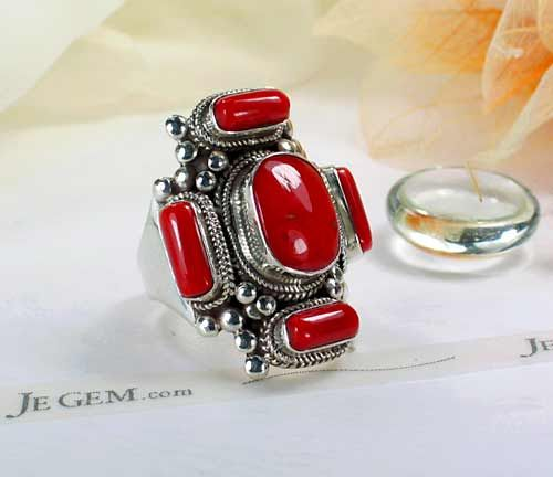 JeGem Designer Sterling Silver Red Coral Jewelry Rings