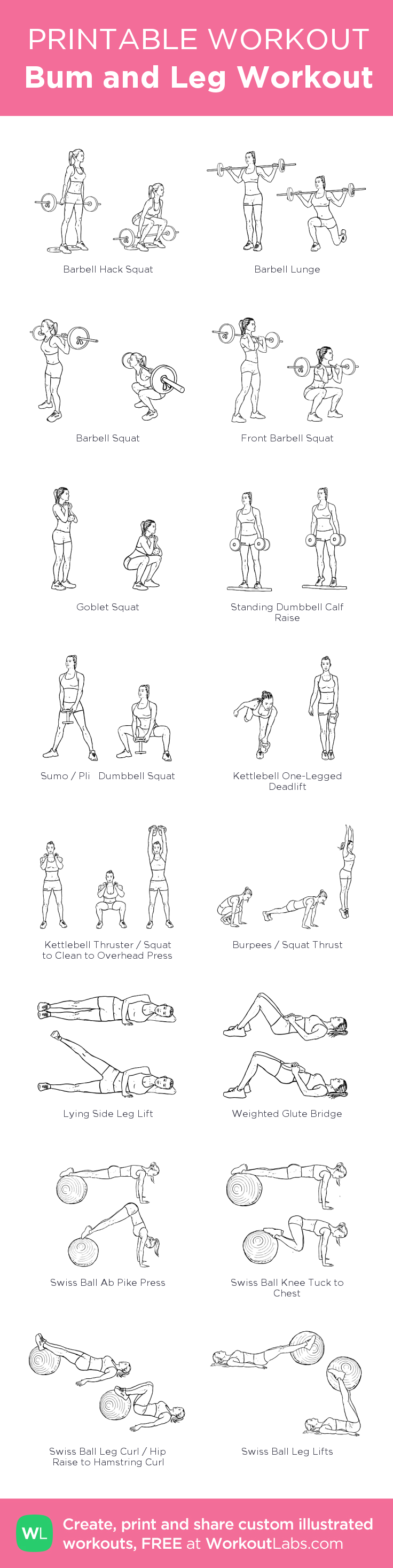 Bum and Leg Workout :my visual workout created at WorkoutLabs.com • Click through to customize and download as a FREE PDF! #customworkout