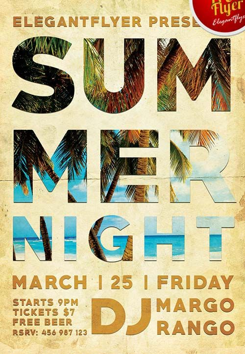 Free Summer Night Party PSD Flyer Template - http\/\/freepsdflyer - summer flyer template