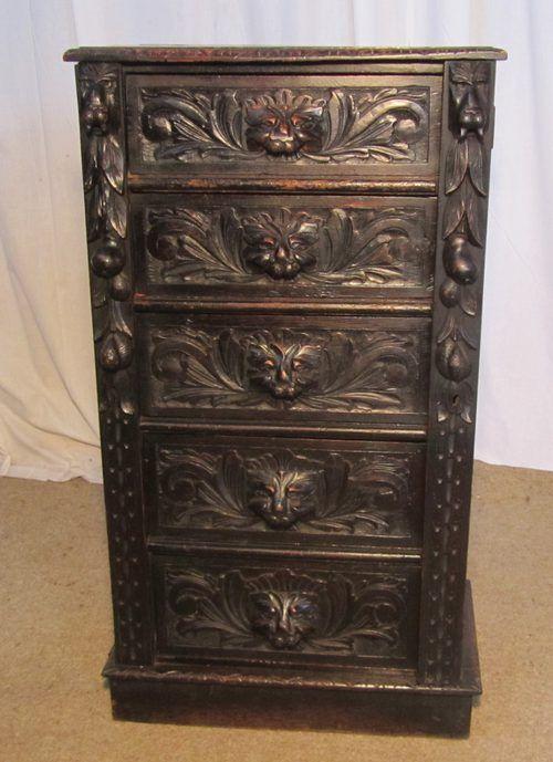 Victorian era furniture carved green man oak