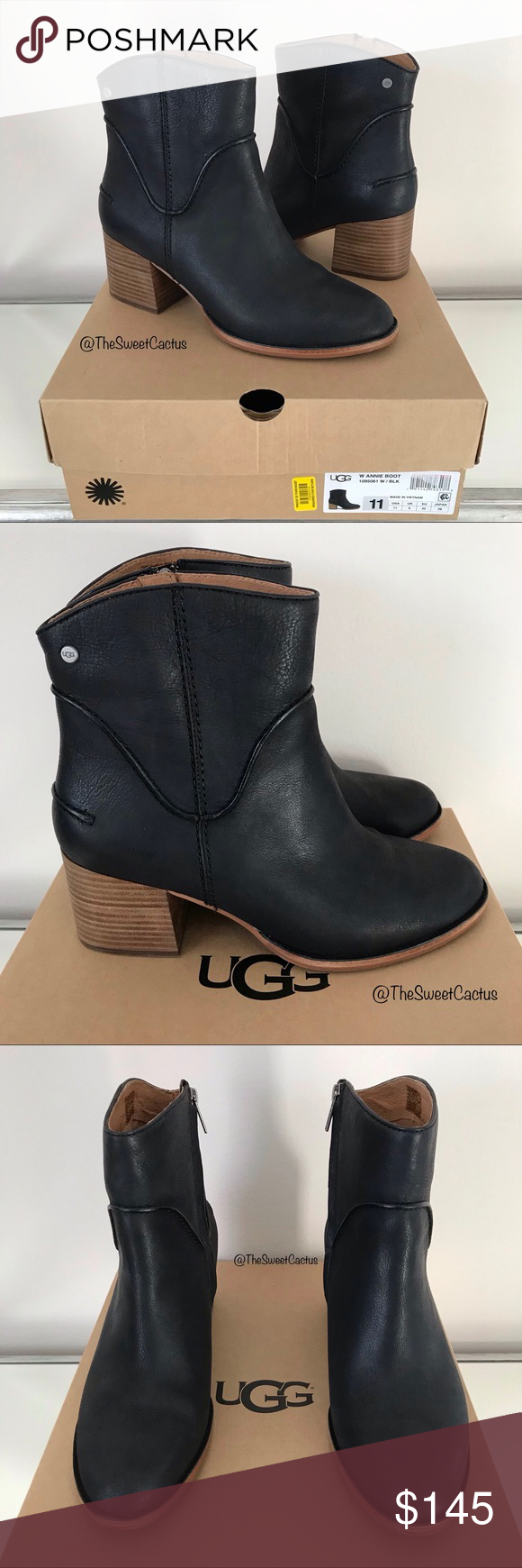 428a591a690 UGG Black Leather Annie Ankle Booties UGG Black Leather Annie Ankle ...