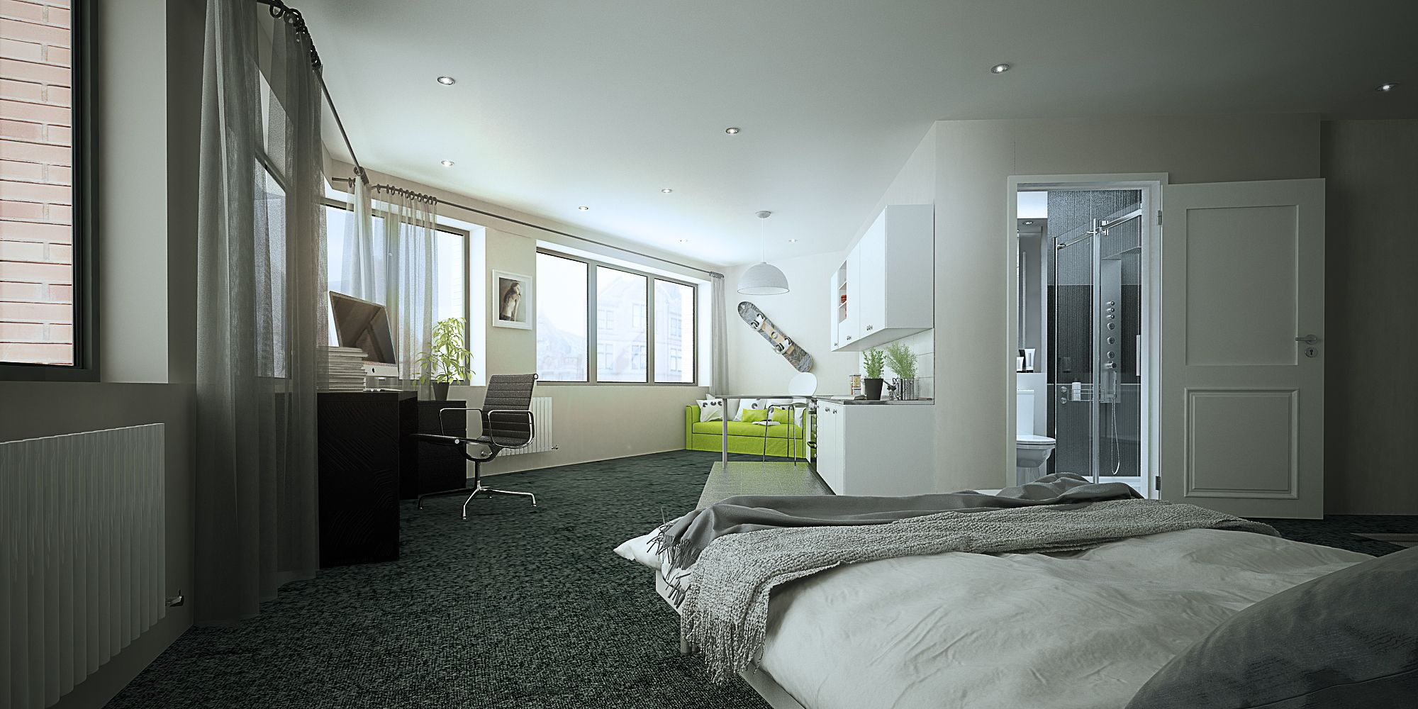 CGi Interior Design Visuals For Hydrogen Student Accommodation In  Nottingham.