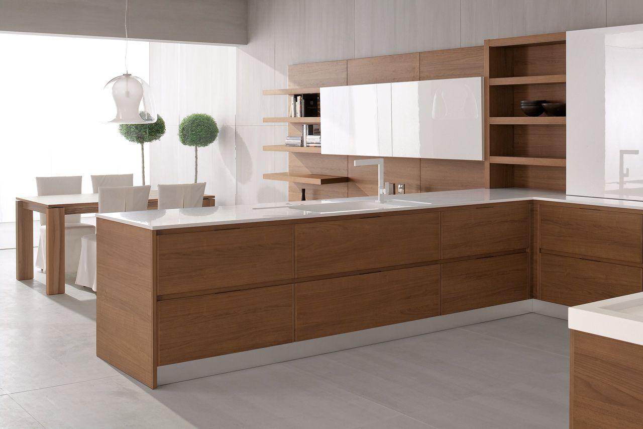Risultati immagini per noce canaletto cucina | Cucina soggiorno ...