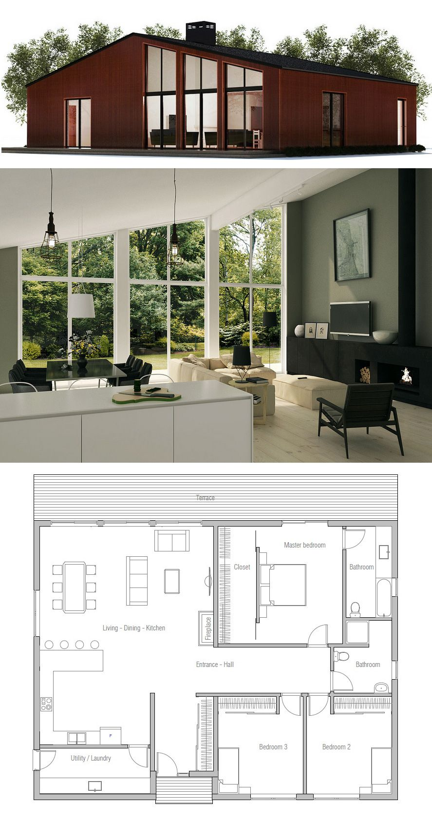 small house plan i love this but would change the bathrooms the - Small House Plans