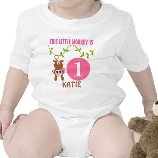 Little Monkey Birthday Personalized Baby Bodysuit