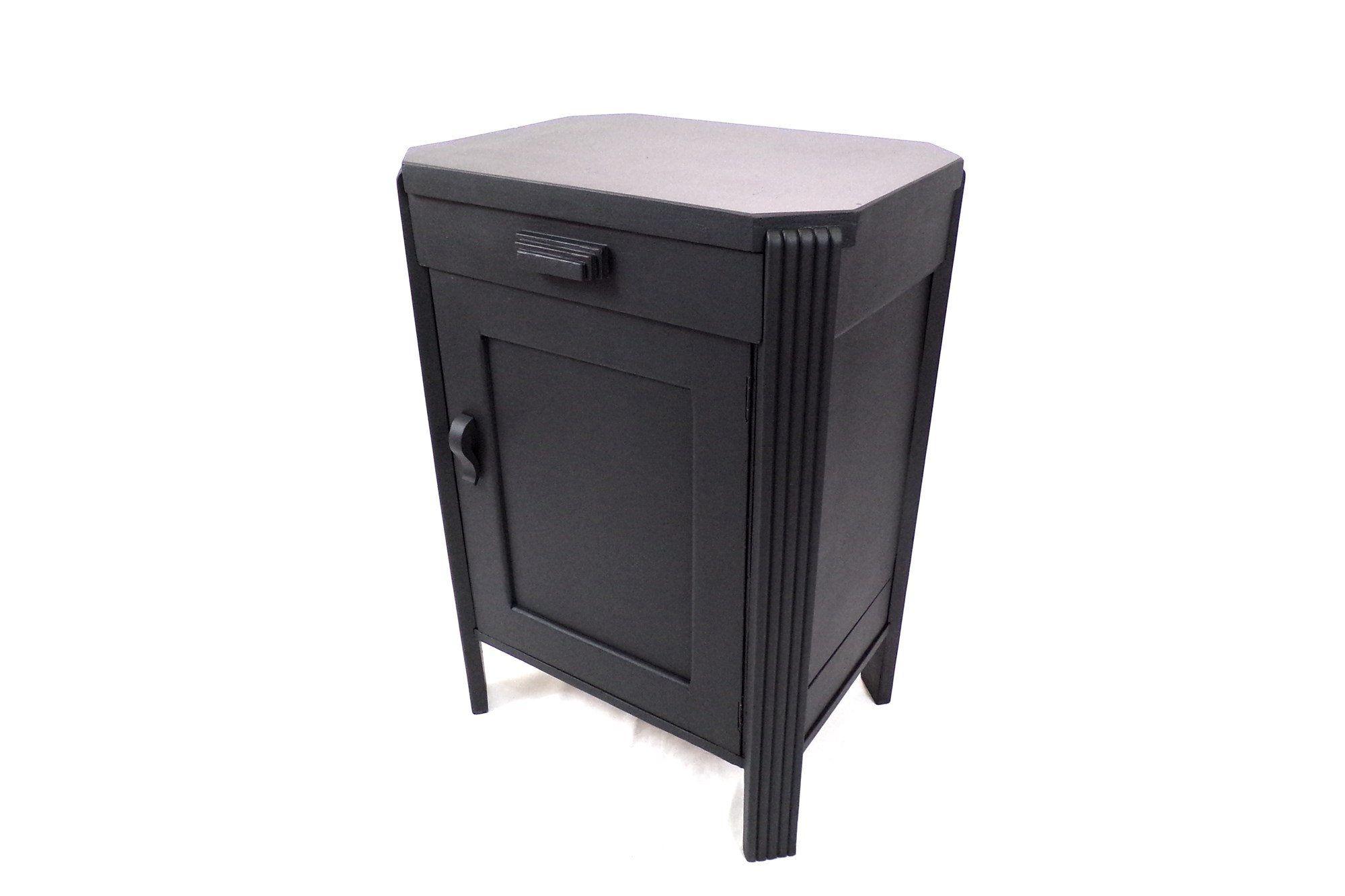 Petit Meuble 1930 Art Deco Relooke Noir Mat Une Porte Un Tiroir Vintage France Locker Storage Home Decor Furniture