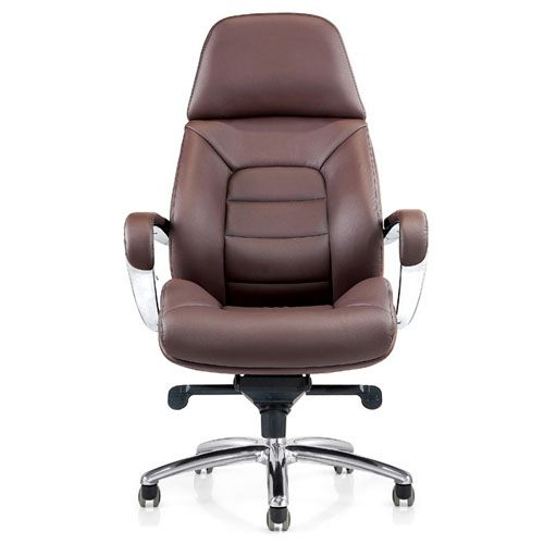 High Back Brown Ribbed Upholstered Executive Office Chair Modern Office Chair Office Chair Leather Office Chair