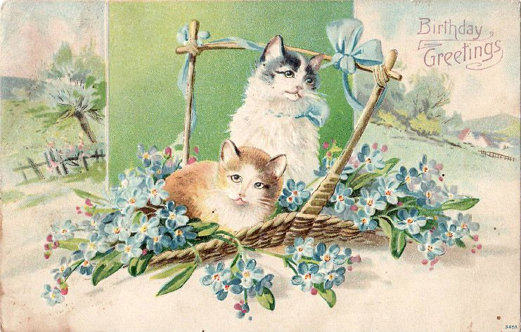 The Artzee Blog Vintage Victorian Birthday Postcard With Cats And Blue Flowers Vintage Postcards Vintage Postcard Kittens Vintage