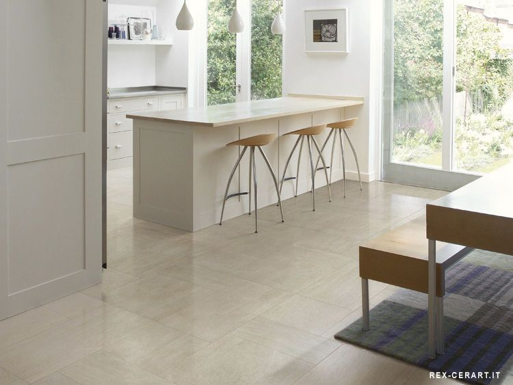 Very Light Cream Gray Kitchen Floor Tiles Complement Wooden Floors