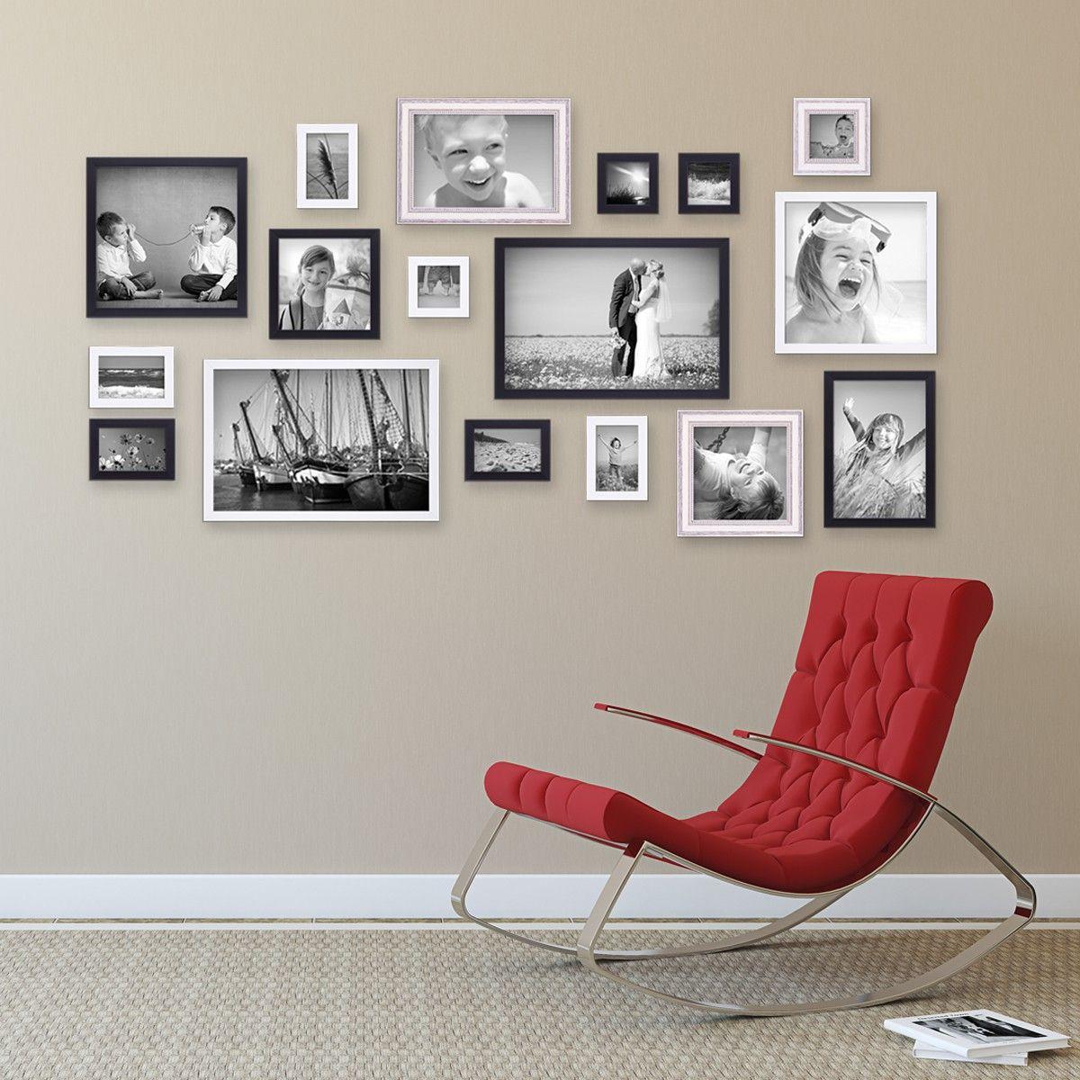 17er Set Bilderrahmen für grosse Bilderwand Massivholz