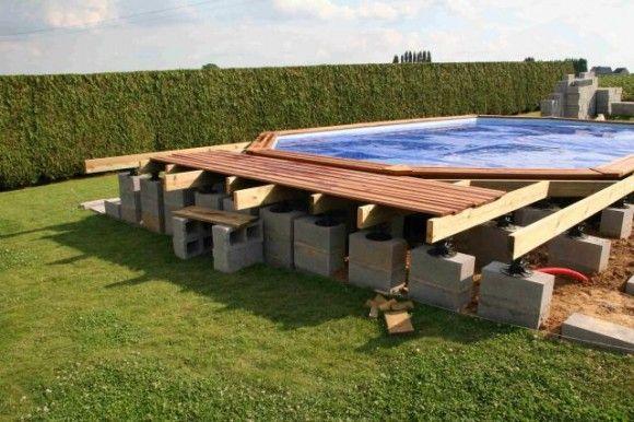 Construction de la plage Piscina Pinterest - construction d une terrasse bois