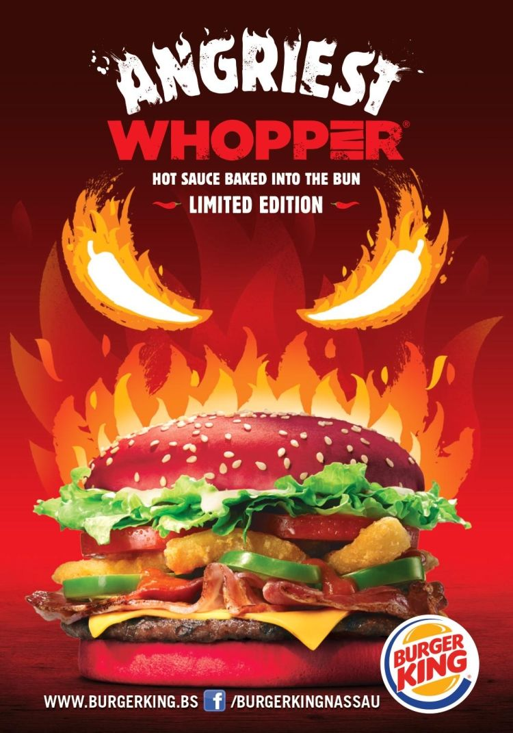 Introducing The Angriest Whopper Of The All Burger King Nassau Bahamas Try It And Feel Its Power Burger Burger Burger King Angriest Whopper