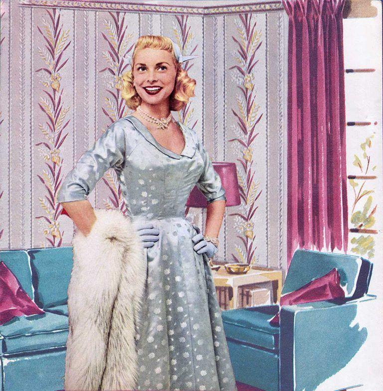 1950s Fashion Winter Dresses 1954 Vintage Winter