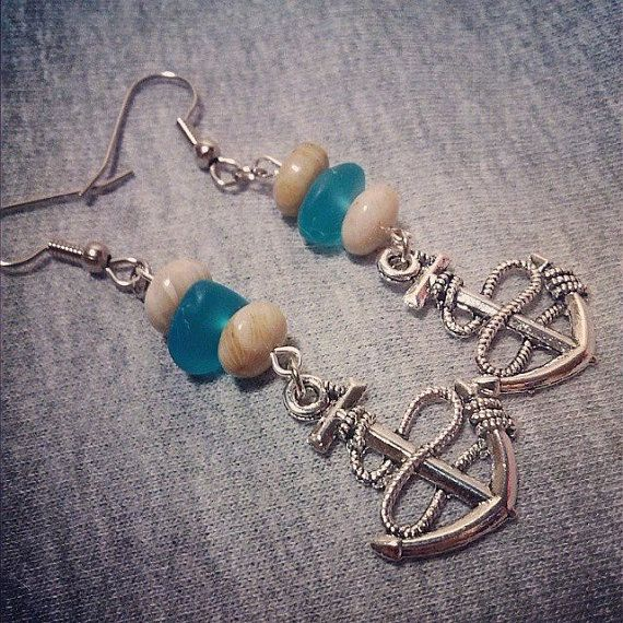 Anchor Charm Earrings with Blue Sea Glass by BuckeysBeadBoutique