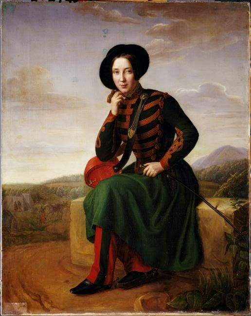 A painting of a Vivandiere, a French-inspired female soldier in the 1850s all the way to World War I. Women fought for liberty too in the old days. Who is the artist responsible for this, I must know. :p