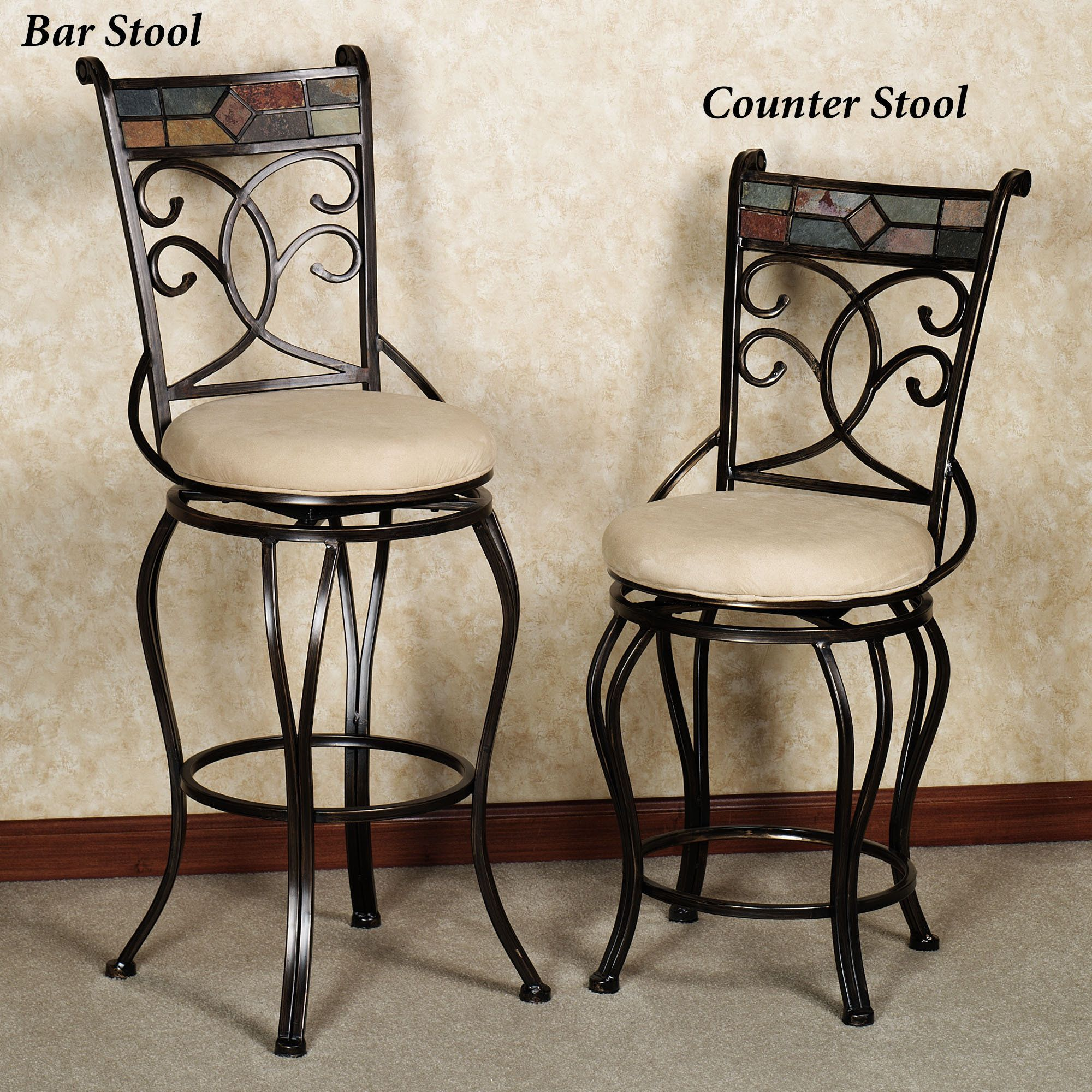 Kitchen Swivel Bar Stools Terran Metal Swivel Bar And Counter Stools Kitchen Decor