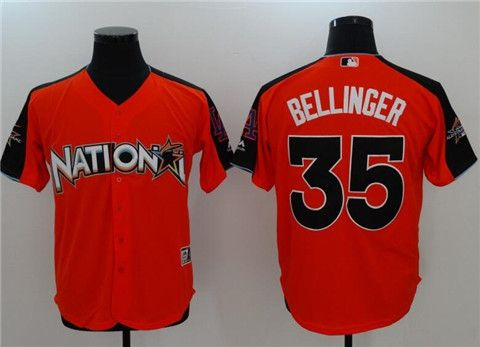 "be89f11a3 ""Men s National League Los Angeles Dodgers  35 Cody Bellinger Majestic Orange  2017 MLB All-Star Game Home Run Derby Player Jersey   23"""