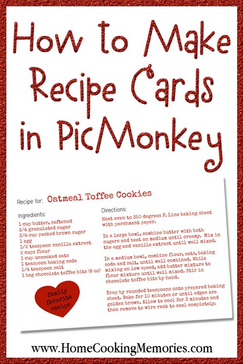 How to Make Recipe Cards in PicMonkey | Recipe cards, Recipes and ...