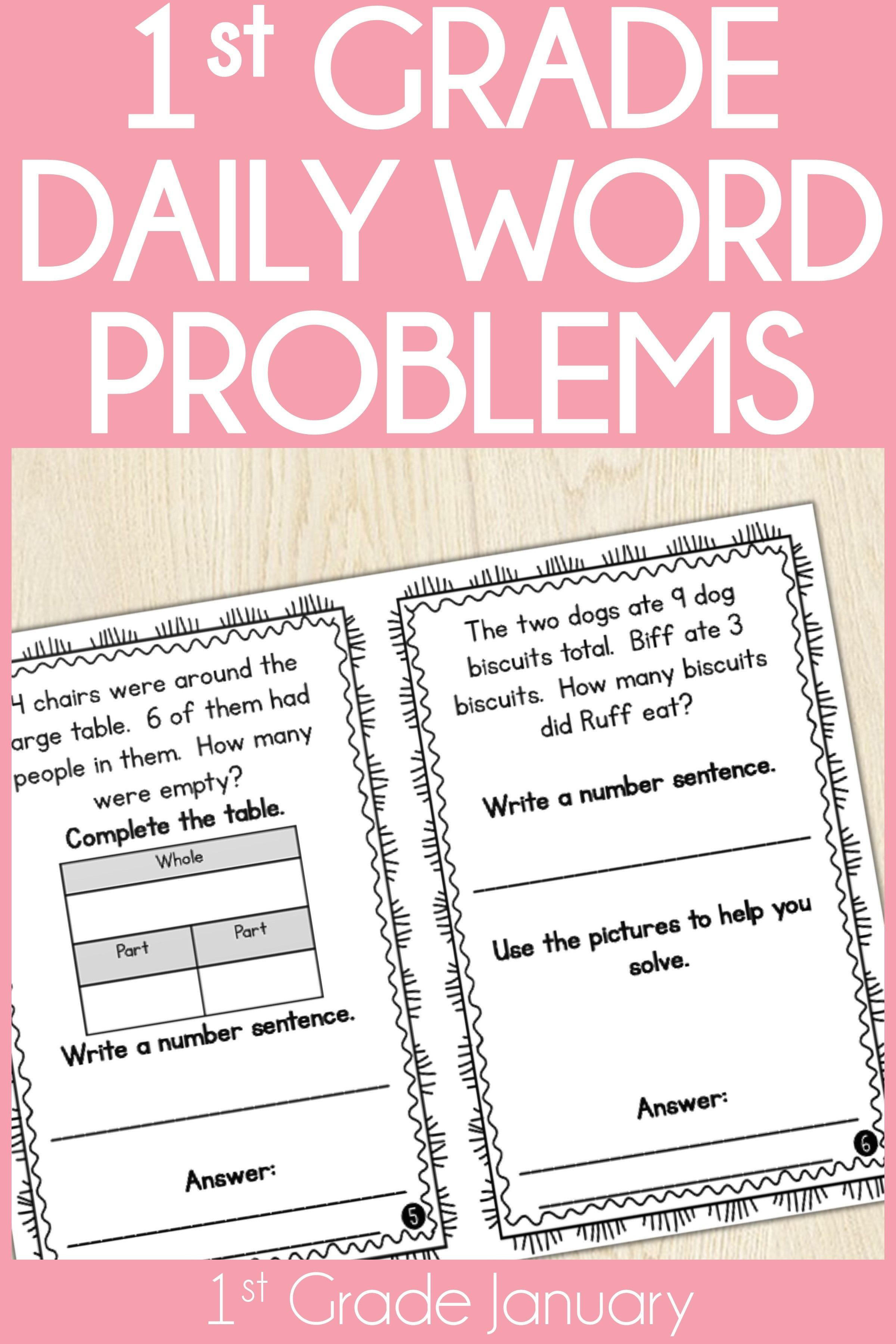 1st Grade Word Problem Of The Day Story Problems January