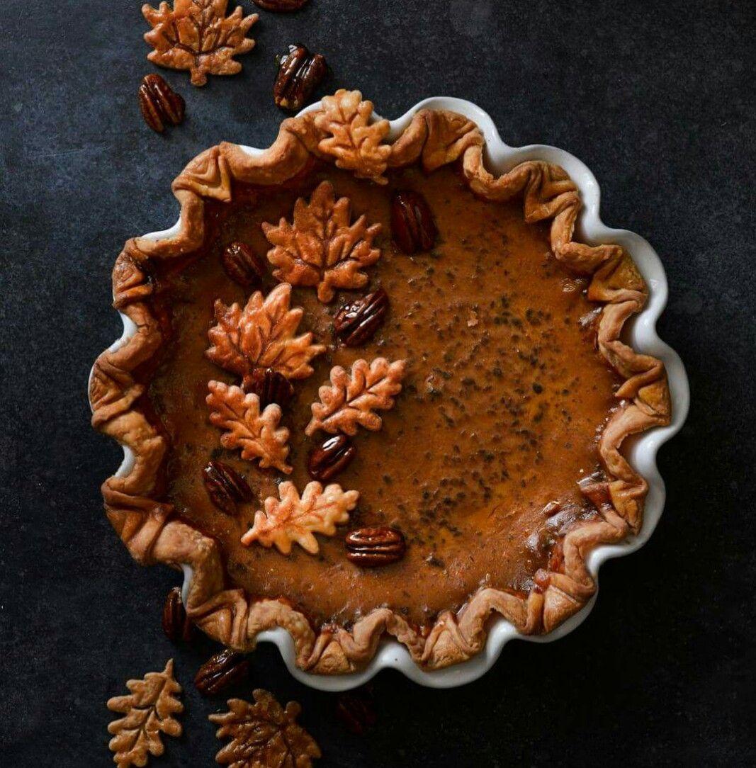 Beautiful pie presentation pecan pumpkin butter pumpkin