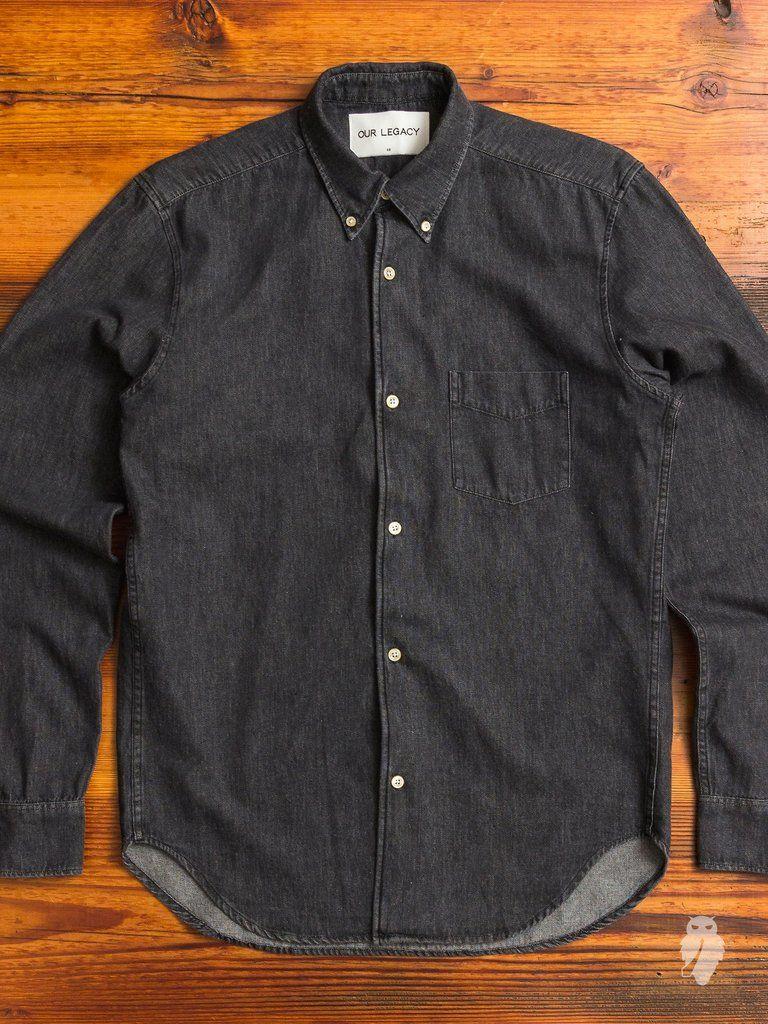 de749eb0a8 1950s Button Down Shirt in Black Denim