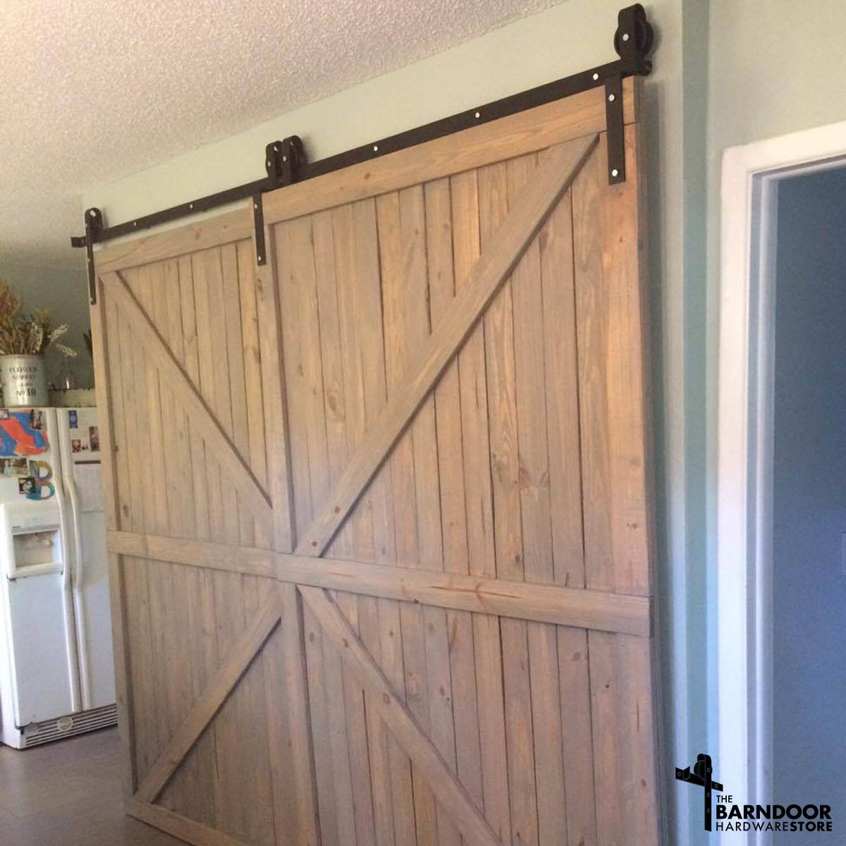 Single Track Bypass Barn Door Hardware Kit For 2 Doors On One Track Bypass Barn Door Diy Barn Door Barn Door