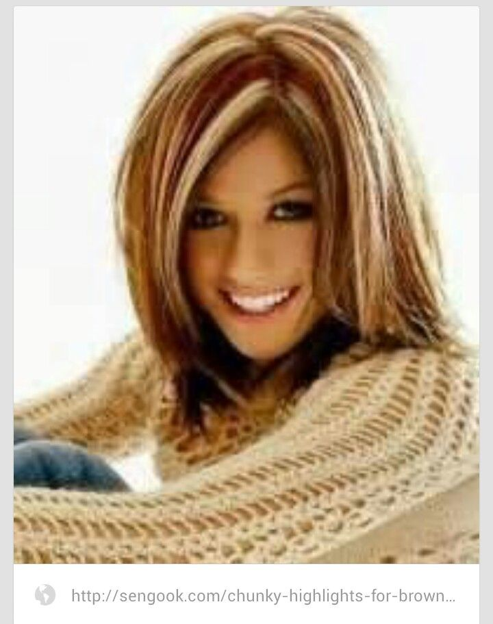 Long Hair Styles With Mohagany And Blone Chunky Highlights Hair