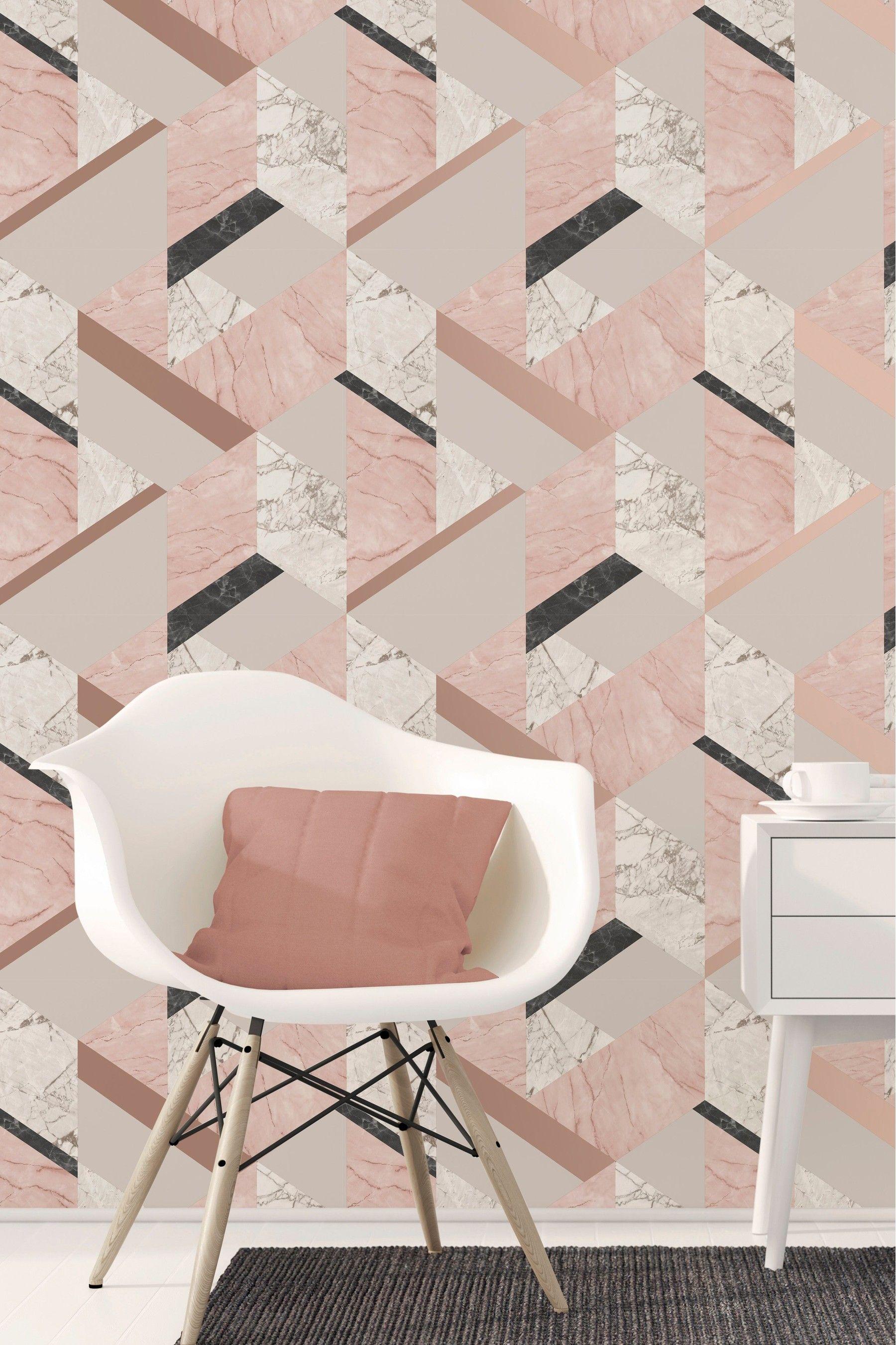 Fine Décor Marble Effect Geo Wallpaper Cream in 2020